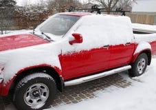 车道装货红色雪 免版税库存照片