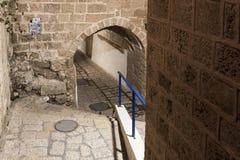 车道黄道十二宫在晚上在Tel的Aviv-Yafo老城市Yafo在以色列 库存图片