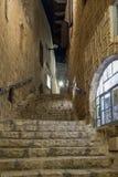 车道黄道十二宫在晚上在Tel的Aviv-Yafo老城市Yafo在以色列 免版税图库摄影