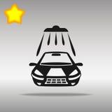洗车黑色象按钮商标标志 免版税库存照片