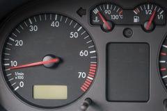 车头表,引擎水温显示,汽油箱显示 免版税库存图片
