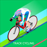 轨道骑自行车者自行车骑士运动员夏天比赛象集合 轨道循环的速度概念 库存例证