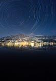 轨道Motion湖Millstatt在冬天 库存图片
