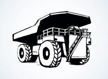 转储挖掘机海运卡车 得出花卉草向量的背景 库存例证