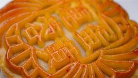转动中国人的传统风格中国月饼意味莲花种子浆糊用卵黄质没有商标 股票录像