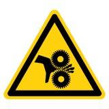转动刀片标志标志的切开手指,传染媒介例证,在白色背景标签的孤立 EPS10 库存例证