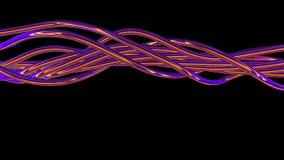 转动和转动在照相机前面的奇怪的发光的紫色导线 皇族释放例证