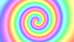 转动在一个无缝的重复的圈的一个转动的螺旋的软的颜色五颜六色的不可思议的多色彩虹漩涡  皇族释放例证