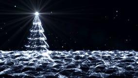 转动在未来派技术分子抽象结节背景的圣诞树 的圣诞节和无缝的新年度 皇族释放例证
