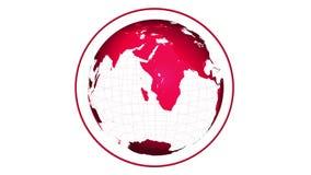 转动在白色背景的红色地球 皇族释放例证
