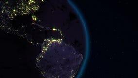 转动在空间圈的现实地球 在行星地球是可看见的变动的日夜 皇族释放例证