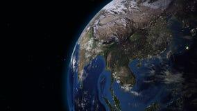 转动在空间圈的现实地球 在行星地球是可看见的变动的日夜 向量例证