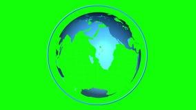 转动在绿色屏幕背景的蓝色地球 向量例证