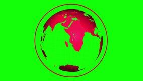 转动在绿色背景的红色地球 库存例证
