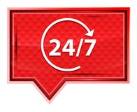 24/7转动有薄雾箭头的象淡粉红色横幅按钮 库存例证