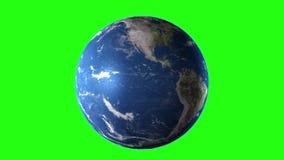 转动现实的地球, 4K 使用绿色屏幕,为您自己的背景完善 高详细的纹理 库存例证