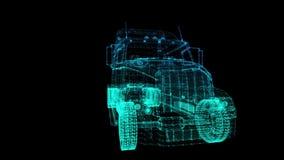 转动的卡车 式样大卡车的黑和蓝色亮光形成360度