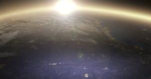 转动的地球在晚上-北美 向量例证