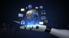 转动的地球,扩展社交网路服务 人造卫星,在机器人,靠机械装置维持生命的人手的通讯技术 皇族释放例证