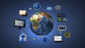 转动的地球,扩展社交网路服务 人造卫星,通讯技术 向量例证