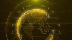 转动的地球 行星地球作为与力量弧的焕发全息图排行 技术背景圈 行星地球转动 库存例证