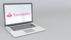 转动的开头和闭合值的膝上型计算机有桑坦德Serfin商标的 计算机科技概念性社论4K夹子 库存例证