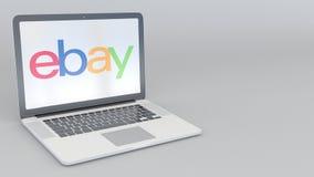 转动的开头和闭合值的膝上型计算机有电子港湾的公司 徽标 计算机科技概念性社论4K夹子 库存例证