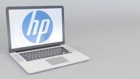 转动的开头和闭合值的膝上型计算机有HP的公司 徽标 计算机科技概念性社论4K夹子 向量例证