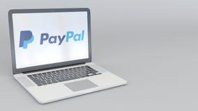 转动的开头和闭合值的膝上型计算机有PayPal商标的 计算机科技概念性社论4K夹子 皇族释放例证