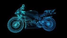 转动的摩托车 发光的轻的微粒在式样摩托车的形成安排了360度 无缝使成环 皇族释放例证
