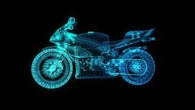 转动的摩托车 在式样摩托车的形成安排的发光的轻的微粒360度 E 皇族释放例证