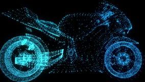 转动的摩托车 在式样摩托车的形成安排的发光的轻的微粒360度 E 库存例证