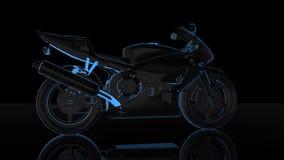 转动的摩托车 式样摩托车的黑和蓝色亮光形成360度 使成环的行动生气蓬勃的背景 库存例证