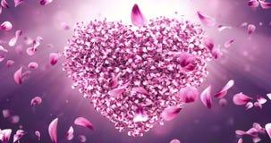 转动的桃红色玫瑰佐仓开花在爱心脏形状的瓣 无缝的圈4k