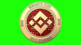 转动的金黄Binance硬币 皇族释放例证