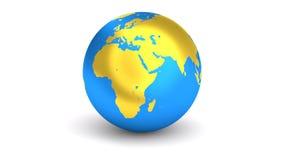 转动的3D地球金黄蓝色行星 皇族释放例证