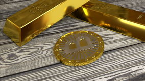 转动的bitcoin 皇族释放例证