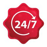 24/7转动箭头象有薄雾的玫瑰红的starburst贴纸按钮 向量例证