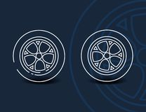 转动线性象-最小的汽车轮胎标志或标志 向量例证
