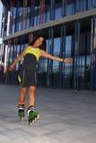 转动滑冰的女孩线型 库存图片