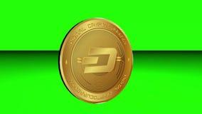 转动cryptocurrency在绿色屏幕表面背景的破折号硬币 皇族释放例证