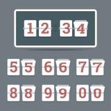 翻转在平的样式的时钟与所有翻转的数字 向量例证