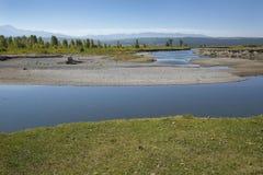 转弯在Moran,怀俄明附近的水牛城叉子河 免版税库存照片