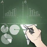 转换,销售,在一个黑板的图表白垩在办公室 免版税图库摄影