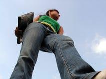 转接膝上型计算机跨步 图库摄影