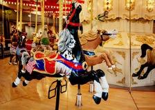 转盘圣诞节马装饰品结构树 免版税图库摄影