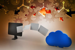 转移到云彩网络服务系统的数据 免版税图库摄影