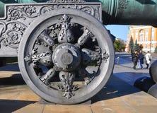 轮子沙皇大炮在克里姆林宫 莫斯科 俄国 免版税库存照片
