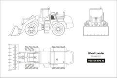 轮子装载者外形图在白色背景的 上面,旁边和正面图 柴油挖掘机的图纸 皇族释放例证