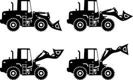 轮子装载者 建筑大量设备 向量 向量例证